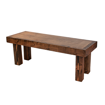 "Borrego Bench - 18"" Legs 4'x18"" Wood - Bench Height  www.Raphaels.com - Call to place your rental order today! 858-689-7368 - www.raphaels.com"