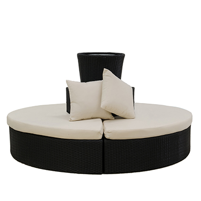 Rattan Bali Round Seating Black, With Planter  www.Raphaels.com - Call to place your rental order today! 858-689-7368 - www.raphaels.com