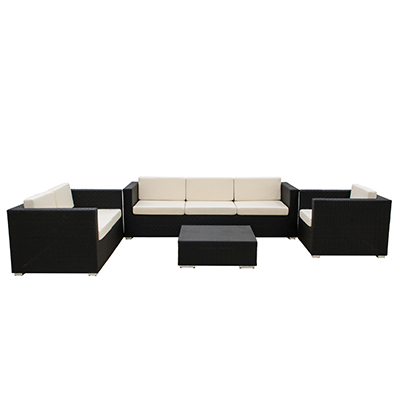 Rattan Bahama Black (4pc) Couch, Love Seat, Chair  www.Raphaels.com - Call to place your rental order today! 858-689-7368 - www.raphaels.com