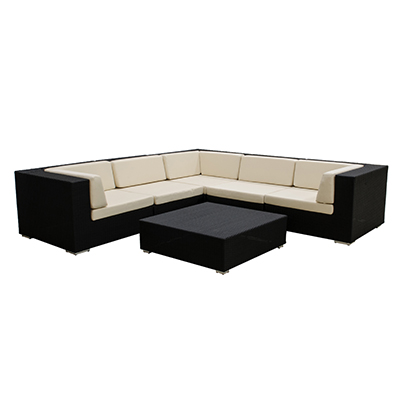 Rattan Bahama Sectional  Black, 5 Piece Sectional  www.Raphaels.com - Call to place your rental order today! 858-689-7368 - www.raphaels.com