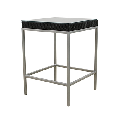 "Rattan Lana'i Tall Table Black, 31"" Square  www.Raphaels.com - Call to place your rental order today! 858-689-7368 - www.raphaels.com"