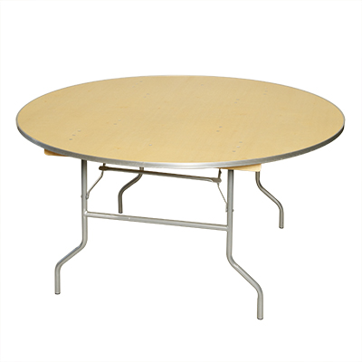"Round Table, Wood 48"" dia. Seats 5-6  www.Raphaels.com - Call to place your rental order today! 858-689-7368 - www.raphaels.com"
