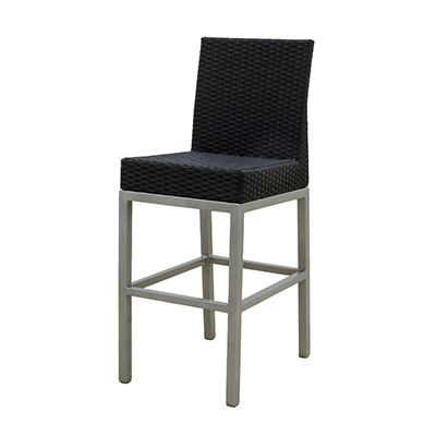 Rattan Lana'i Barstool Black, w/ Back  www.Raphaels.com - Call to place your rental order today! 858-689-7368 - www.raphaels.com