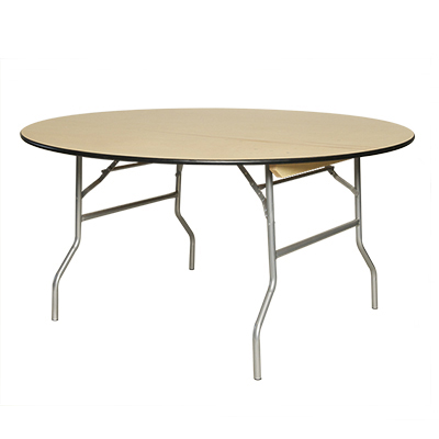 "Round Table, Wood 54"" dia. Seats 6-8  www.Raphaels.com - Call to place your rental order today! 858-689-7368 - www.raphaels.com"