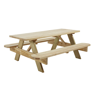 "Natural Wood Picnic Table 6' x 30""  www.Raphaels.com - Call to place your rental order today! 858-689-7368 - www.raphaels.com"