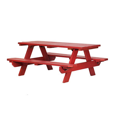 "Red Painted Picnic Table 6' x 30""   www.Raphaels.com - Call to place your rental order today! 858-689-7368 - www.raphaels.com"