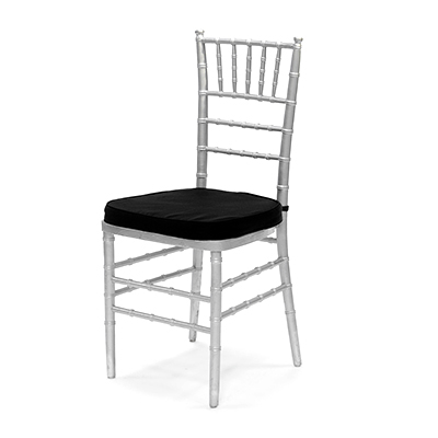 Silver Chiavari Chair w/Black Cushion  www.Raphaels.com - Call to place your rental order today! 858-689-7368 - www.raphaels.com