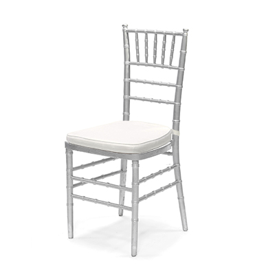 Silver Chiavari Chair w/Ivory Cushion  www.Raphaels.com - Call to place your rental order today! 858-689-7368 - www.raphaels.com