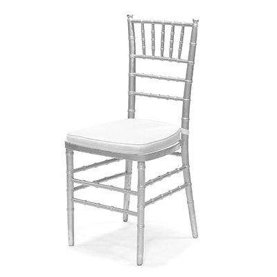 Silver Chiavari Chair w/ White Cushion  www.Raphaels.com - Call to place your rental order today! 858-689-7368 - www.raphaels.com