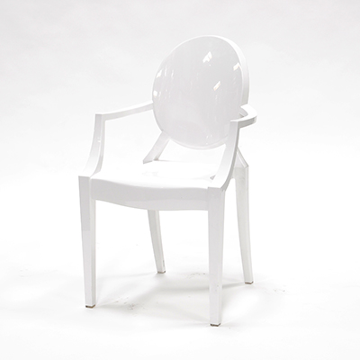 White Phantom Chair With Armrests  www.Raphaels.com - Call to place your rental order today! 858-689-7368 - www.raphaels.com
