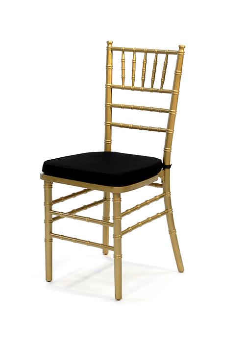 Gold Chiavari Chair w/Black Cushion www.Raphaels.com - Call to place ...
