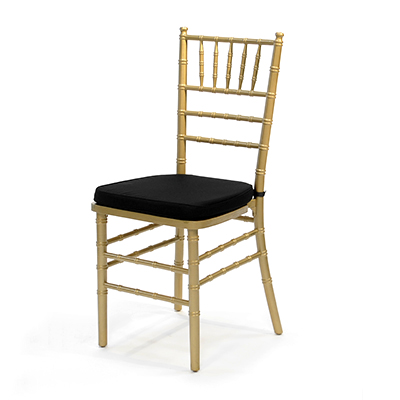 Gold Chiavari Chair w/Black Cushion  www.Raphaels.com - Call to place your rental order today! 858-689-7368 - www.raphaels.com