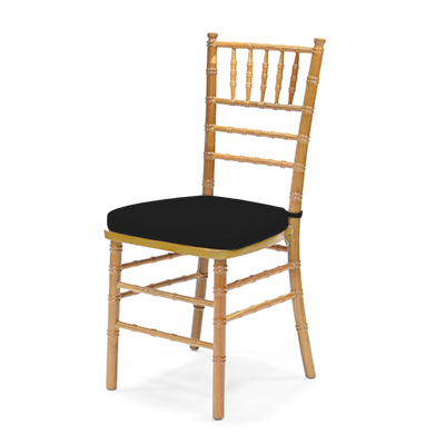 Natural Chiavari Chair w/Black Cushion  www.Raphaels.com - Call to place your rental order today! 858-689-7368 - www.raphaels.com