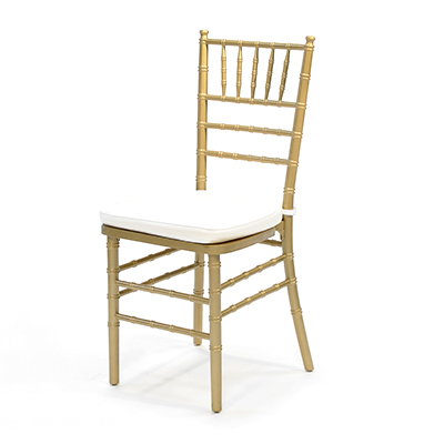 Gold Chiavari Chair w/ White Cushion  www.Raphaels.com - Call to place your rental order today! 858-689-7368 - www.raphaels.com