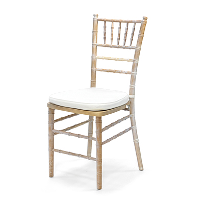 Distressed Chiavari Chair w/ White Cushion  www.Raphaels.com - Call to place your rental order today! 858-689-7368 - www.raphaels.com