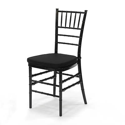 Black Chiavari Chair w/Black Cushion  www.Raphaels.com - Call to place your rental order today! 858-689-7368 - www.raphaels.com