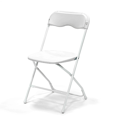 Plastic Folding Chair White  www.Raphaels.com - Call to place your rental order today! 858-689-7368 - www.raphaels.com