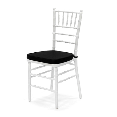 White Chiavari Chair w/Black Cushion  www.Raphaels.com - Call to place your rental order today! 858-689-7368 - www.raphaels.com