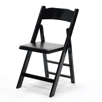 Wood Folding Chair Black Frame, Black Pad  www.Raphaels.com - Call to place your rental order today! 858-689-7368 - www.raphaels.com