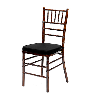 Fruitwood Chiavari Chair w/Black Cushion  www.Raphaels.com - Call to place your rental order today! 858-689-7368 - www.raphaels.com
