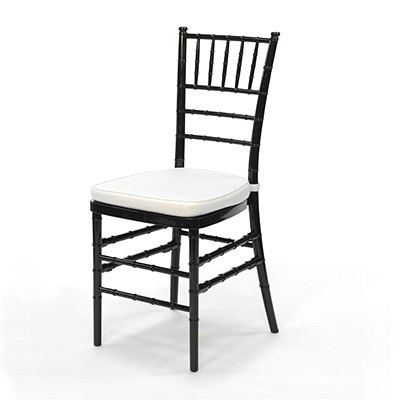 Black Chiavari Chair w/White Cushion  www.Raphaels.com - Call to place your rental order today! 858-689-7368 - www.raphaels.com