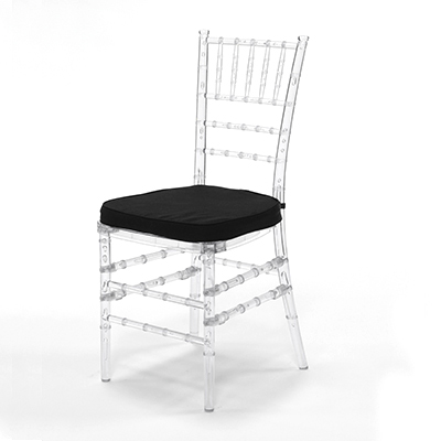 Crystal Chiavari Chair w/ Black Cushion  www.Raphaels.com - Call to place your rental order today! 858-689-7368 - www.raphaels.com