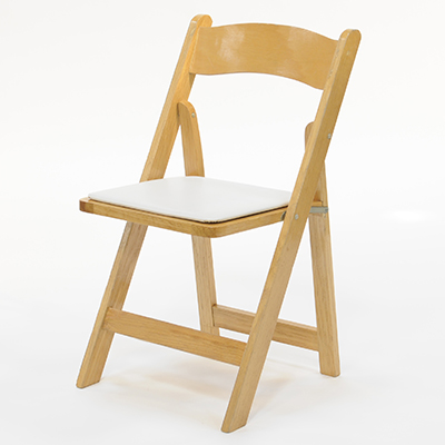 Wood Folding Chair Natural Frame, White Pad  www.Raphaels.com - Call to place your rental order today! 858-689-7368 - www.raphaels.com