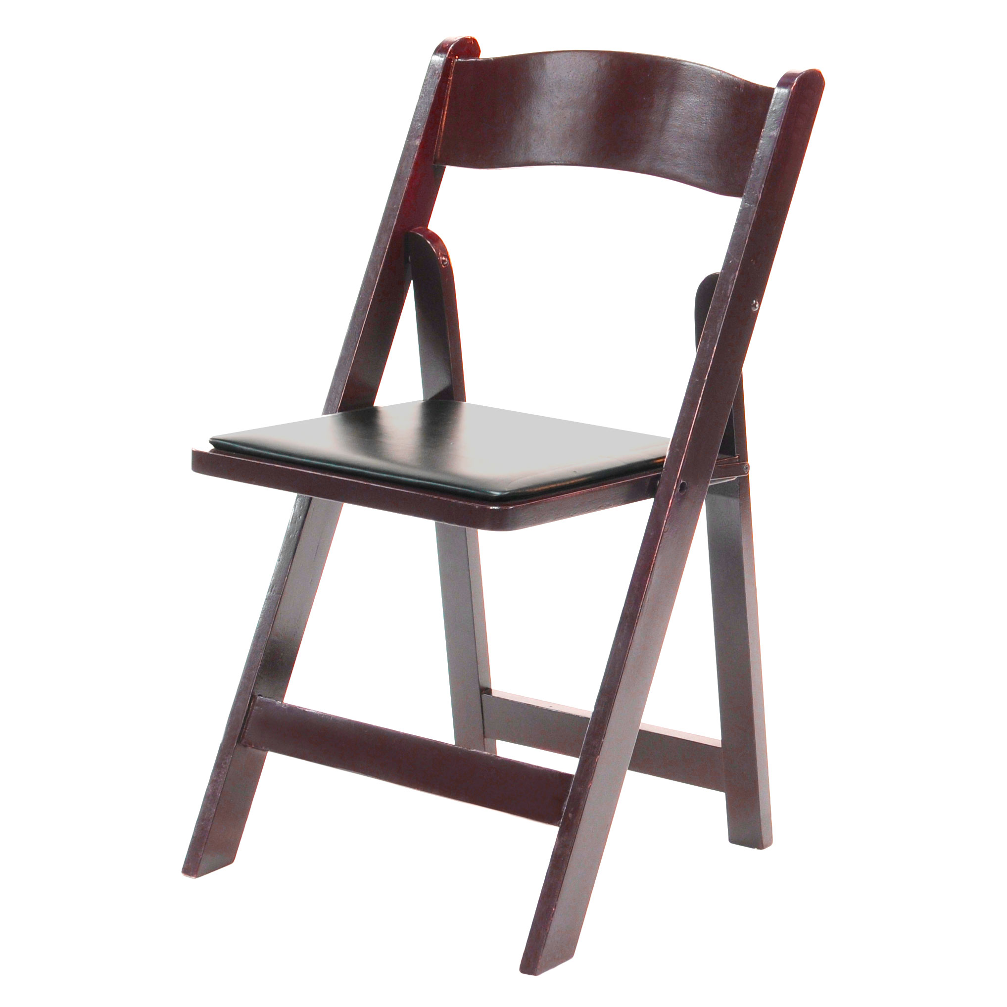 Wood Folding Chair Mahogany Frame, Black Pad  www.Raphaels.com - Call to place your rental order today! 858-689-7368 - www.raphaels.com