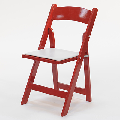 Wood Folding Chair Red Frame, White Pad  www.Raphaels.com - Call to place your rental order today! 858-689-7368 - www.raphaels.com