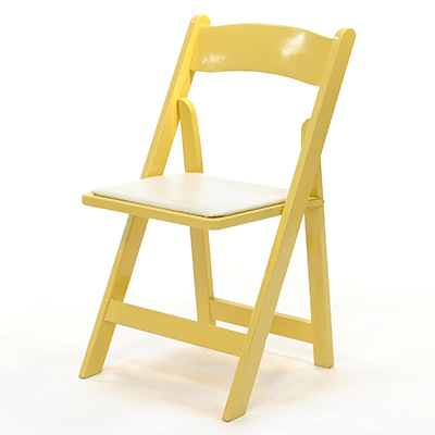 Wood Folding Chair Yellow Frame, White Pad  www.Raphaels.com - Call to place your rental order today! 858-689-7368 - www.raphaels.com