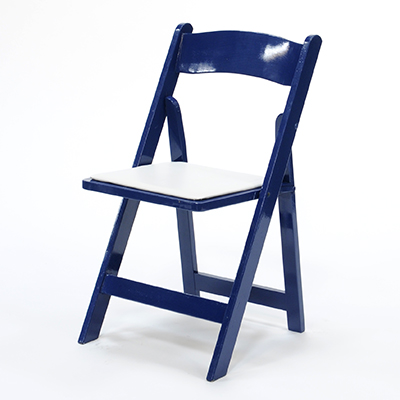 Wood Folding Chair Blue Frame, White Pad  www.Raphaels.com - Call to place your rental order today! 858-689-7368 - www.raphaels.com