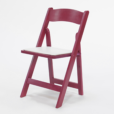 Wood Folding Chair Raspberry Frame, White Pad  www.Raphaels.com - Call to place your rental order today! 858-689-7368 - www.raphaels.com