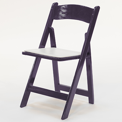 Wood Folding Chair Purple Frame, White Pad  www.Raphaels.com - Call to place your rental order today! 858-689-7368 - www.raphaels.com