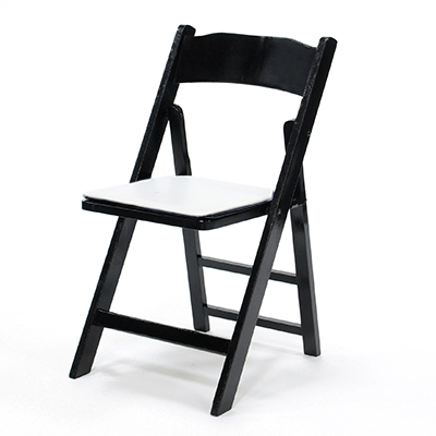 Wood Folding Chair Black Frame, White Pad  www.Raphaels.com - Call to place your rental order today! 858-689-7368 - www.raphaels.com