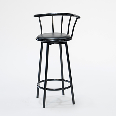 Black Metal Barstool Padded Swivel Seat  www.Raphaels.com - Call to place your rental order today! 858-689-7368 - www.raphaels.com