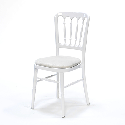 White Versailles Chair w/Ivory Cushion  www.Raphaels.com - Call to place your rental order today! 858-689-7368 - www.raphaels.com
