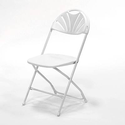 Plastic Folding Chair Fan-back, White  www.Raphaels.com - Call to place your rental order today! 858-689-7368 - www.raphaels.com