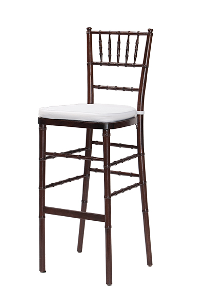 Fruitwood Chiavari Barstool White Cushion www.Raphaels.com - Call to place  your rental - Bar Stool Risers Baileys Kitchen