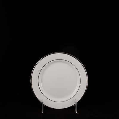 "White With Silver Trim China Bread/Butter Plate 6-1/2""  www.Raphaels.com - Call to place your rental order today! 858-689-7368 - www.raphaels.com"