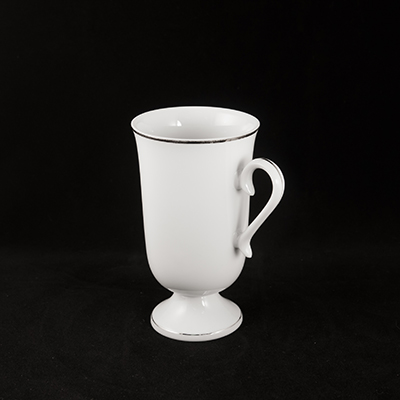 White With Silver Trim China Coffee Mug  www.Raphaels.com - Call to place your rental order today! 858-689-7368 - www.raphaels.com
