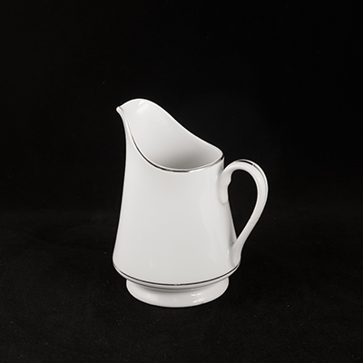 White With Silver Trim China Creamer  www.Raphaels.com - Call to place your rental order today! 858-689-7368 - www.raphaels.com
