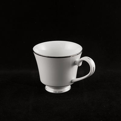 White With Silver Trim China Cup  www.Raphaels.com - Call to place your rental order today! 858-689-7368 - www.raphaels.com