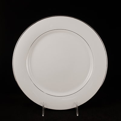 "White With Silver Trim China Dinner Plate 10-1/4""  www.Raphaels.com - Call to place your rental order today! 858-689-7368 - www.raphaels.com"