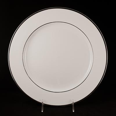 "White With Silver Trim China Charger Plate 12""  www.Raphaels.com - Call to place your rental order today! 858-689-7368 - www.raphaels.com"