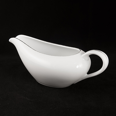 White With Silver Trim China Gravy Boat  www.Raphaels.com - Call to place your rental order today! 858-689-7368 - www.raphaels.com