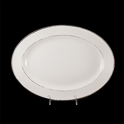 "White With Silver Trim China Platter 14""  www.Raphaels.com - Call to place your rental order today! 858-689-7368 - www.raphaels.com"