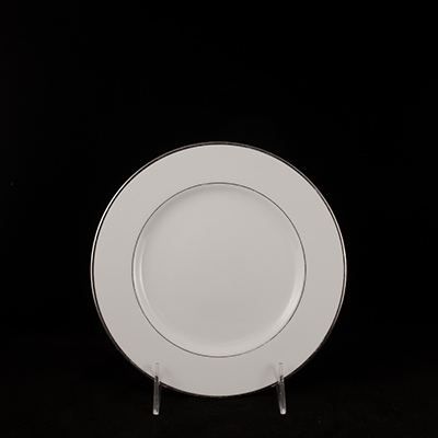 "White With Silver Trim China Salad Plate 8""  www.Raphaels.com - Call to place your rental order today! 858-689-7368 - www.raphaels.com"