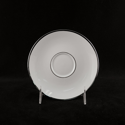 "White With Silver Trim China Saucer 5-3/4""  www.Raphaels.com - Call to place your rental order today! 858-689-7368 - www.raphaels.com"