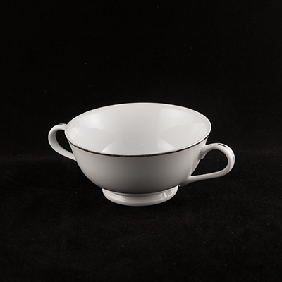 White With Silver Trim China Bouillon Cup  www.Raphaels.com - Call to place your rental order today! 858-689-7368 - www.raphaels.com