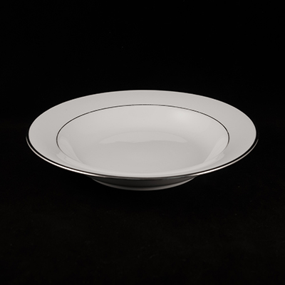 White With Silver Trim China Soup Plate  www.Raphaels.com - Call to place your rental order today! 858-689-7368 - www.raphaels.com